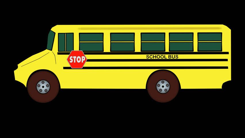 Cartoon School Bus Travels Transparentalpha Stock Footage