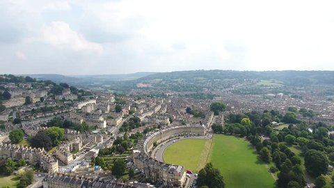 Establishing Aerial City Vew of the Royal Cresent in Bath, in the rolling countryside of southwest England - 21 August 2016