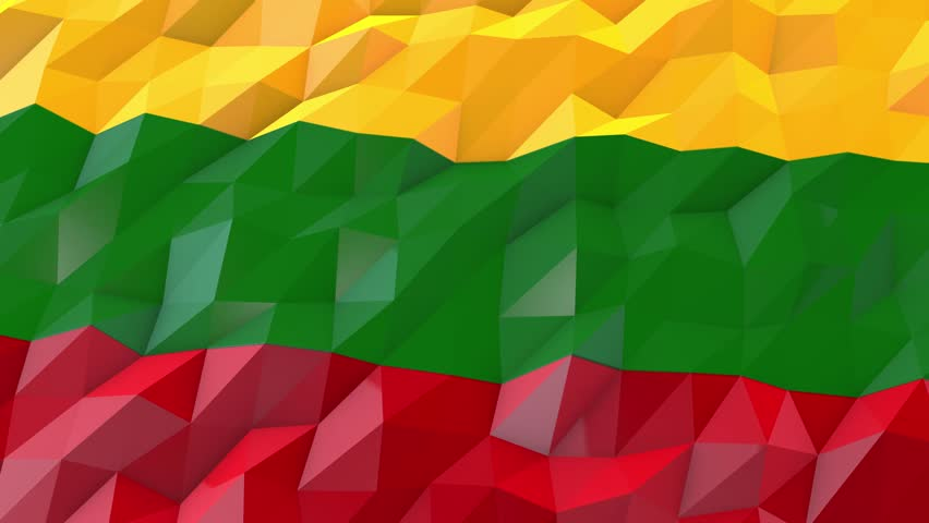 Flag of Lithuania 3D Wallpaper Animation, National Symbol, Seamless Looping bi-directional Footage