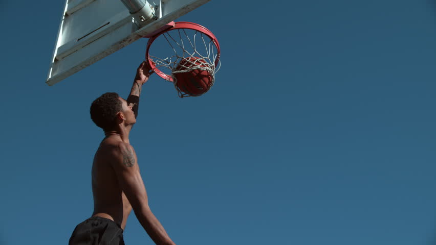 Super slow motion shot of basketball basketball slam dunk, shot on Phantom Flex 4K #19000288
