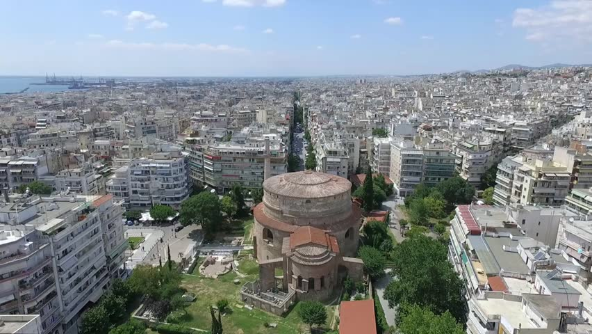 Aerial Drone shot from the Rotunda of Galerius in Thessaloniki city, Greece
