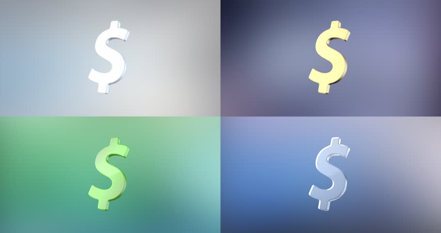 Animated Dollar Sign 3d Icon Loop Modules for edit with alpha matte
