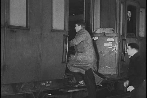 Secret agents board a train in separate cars in occupied France in 1943. (1940s)