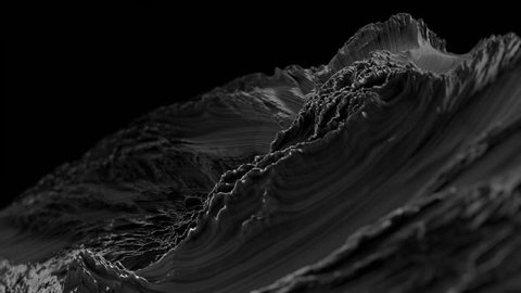 CG Fractal abstract background animation. Seamless loop. Black and white.