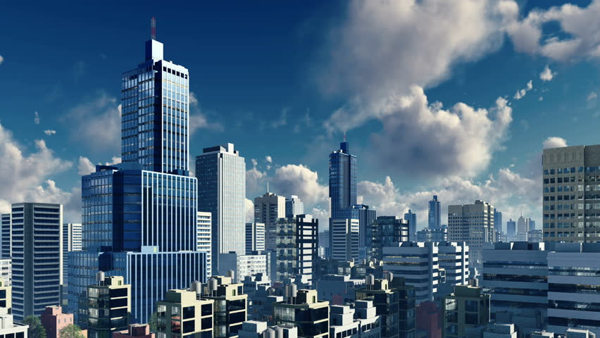 Stock Video Clip Of Abstract Big City Downtown With Modern