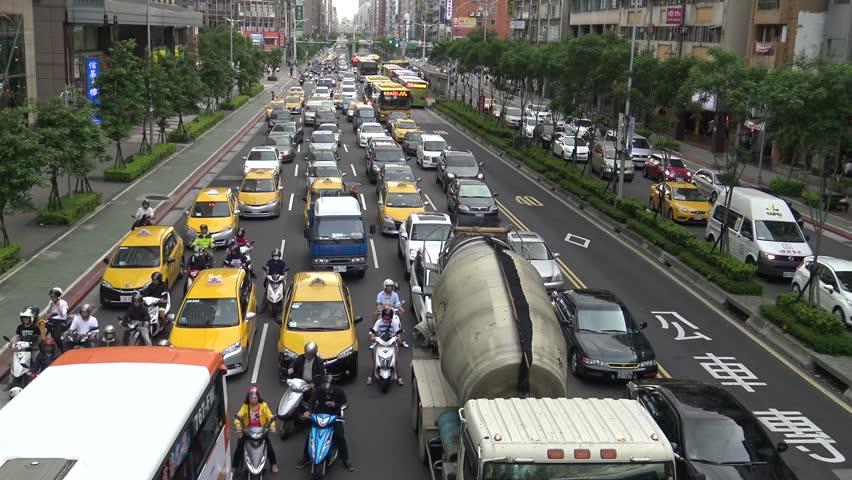 Taipei, Taiwan-18 May, 2016: 4k, Cars Stopped In Traffic Jam
