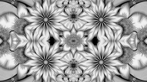 Abstract surreal loop motion background, black and white kaleidoscope