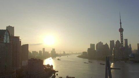 Aerial View, shanghai skyline and huangpu river