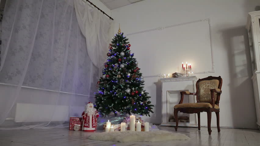 decorated christmas tree and gift boxes in living roomclassic christmas and new year decorated - Classic Christmas Tree
