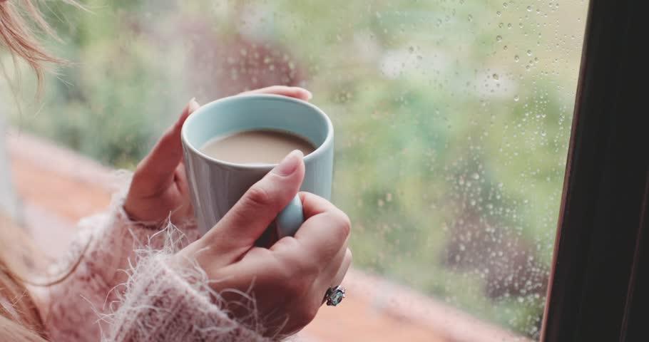 Enjoying rain girl