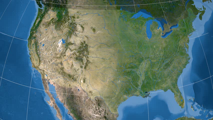 Night To Day Rotating Earth Zoom In On United States With - Satellite map of us