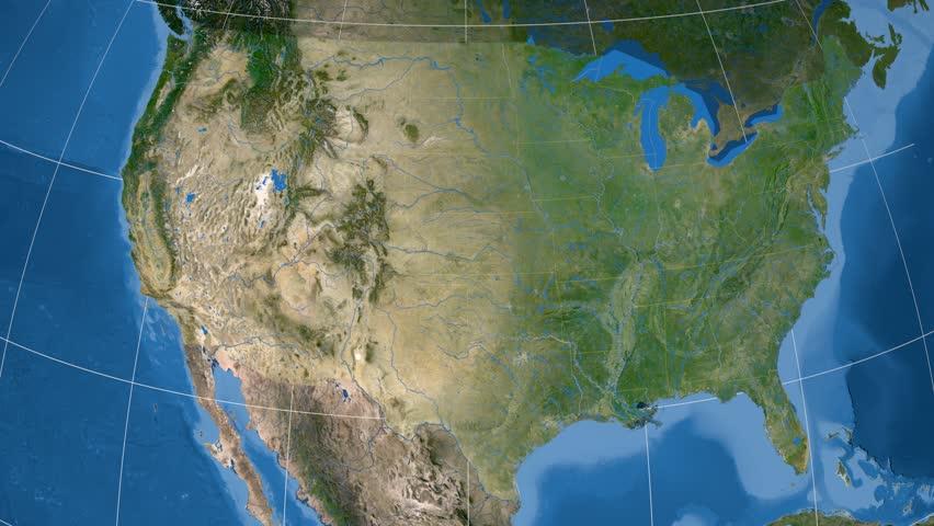 United States With Alaska Shape Animated On The Satellite Map Of - 4k image of us map