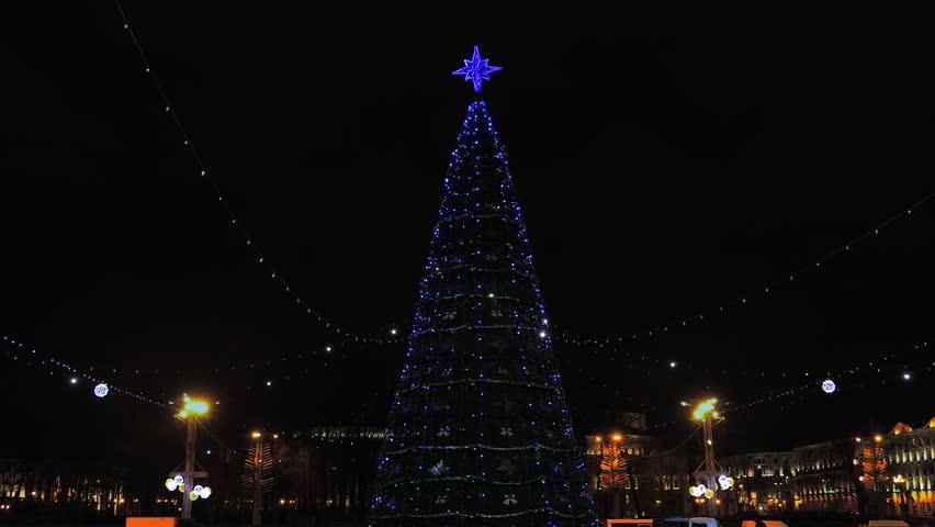 Austin Christmas Tree Part - 46: Christmas Decoration / Christmas Tree / New Year Eve. Christmas Tree On The  Background Of