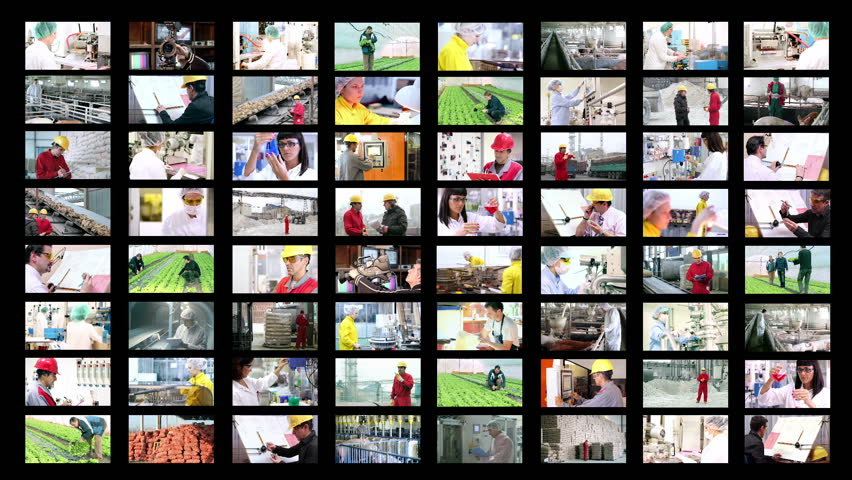 People At Work. Collage Of Video Clips Showing People Of Different ...