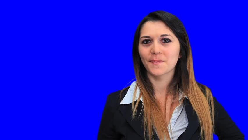 Blue screen beautiful business woman girl concept sign up down good bad | Shutterstock HD Video #1932358