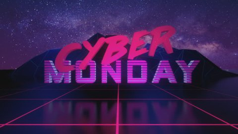 Cyber Monday Sale Reveal. 80's inspired retro reveal with neon colors VHS style footage. 4K VIDEO.