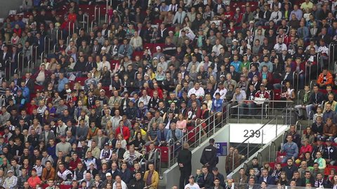 Chelyabinsk, Russia - September 6, 2016: Fans happily respond to the goal scored in the hockey game.