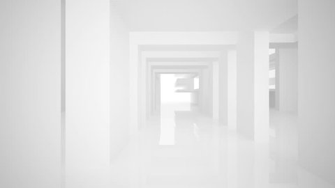 Abstract white interior. 3D animation.. 3D rendering. Part 2