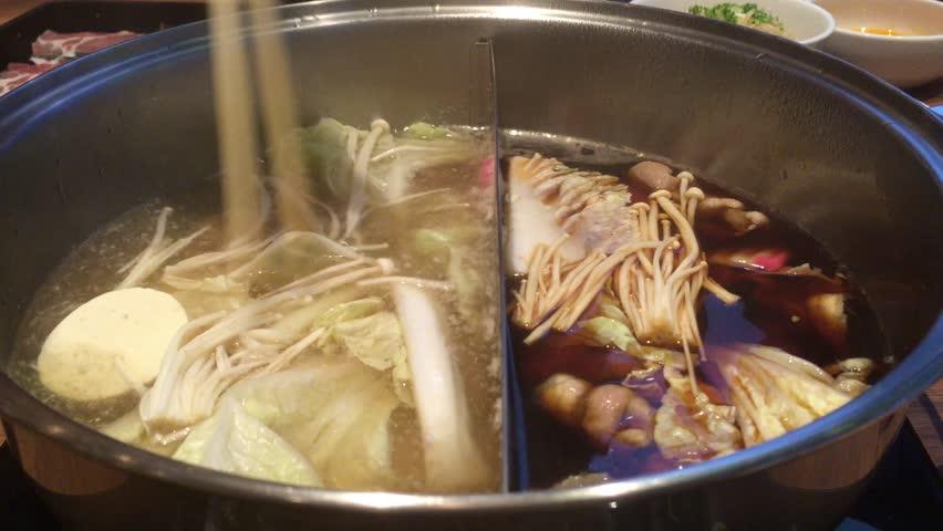 Hot boiling Japanese stew and sukiyaki called Shabu | Shutterstock HD Video #19397668