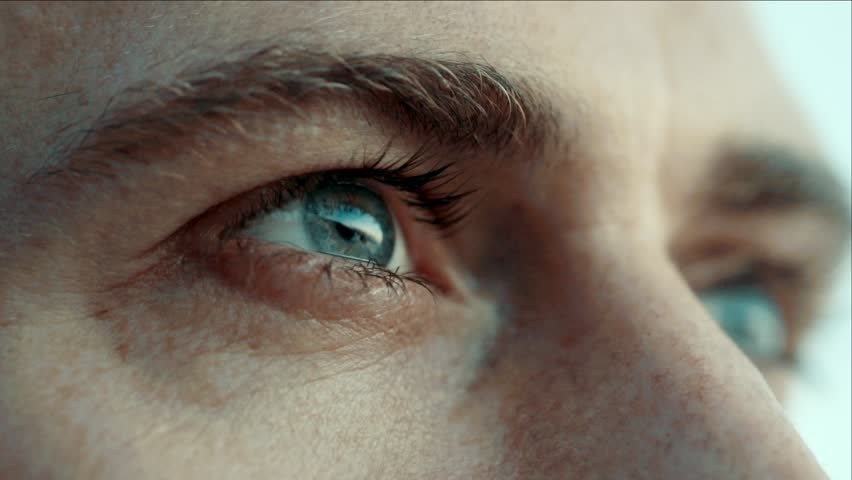 eyes closeup. Man sees at sunset / Slow motion | Shutterstock Video #19409344