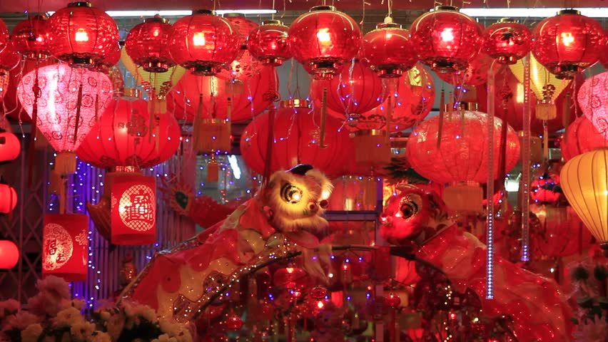Blinking Hanging Chinese Lanterns during New Year in Melaka Malaysia
