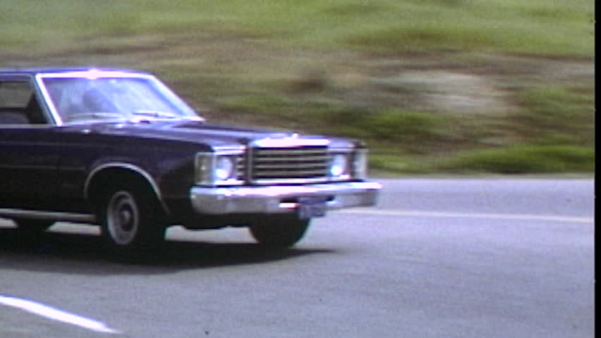 Thousand Oaks, California, USA - October 20, 1982:  Vintage super 8 driving sequence featuring 1975 Ford Granada.