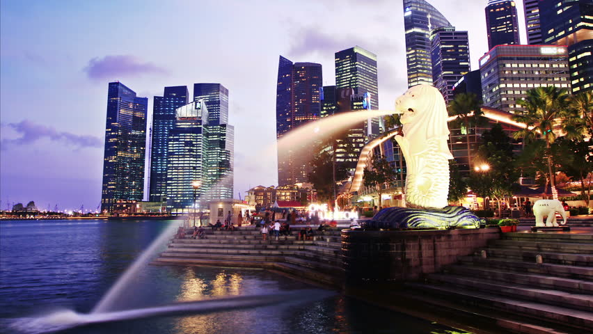 Singapore day to night. time lapse. High quality Footage - Original Size 4k (4096x2304).