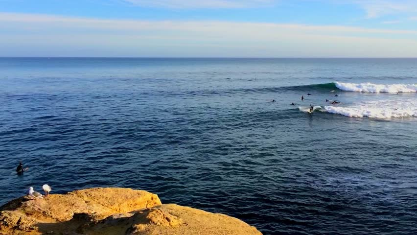 Santa Cruz, Pleasure Point, on the northern Monterey Bay in Santa Cruz County, California, USA, a world renowned surf location | Shutterstock HD Video #19466368