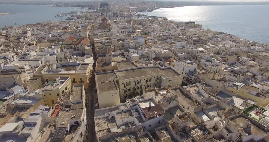 SALENTO - Gallipoli, Citta' Vecchia, Aerial Footage - Riprese Aeree, 4K A slow flight over the old city of Gallipoli, overlooking its historical buildings. | Shutterstock HD Video #19467457