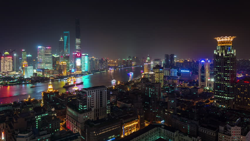Shanghai Night Light Cityscape River Stock Footage Video 100 Royalty Free 19478548 Shutterstock