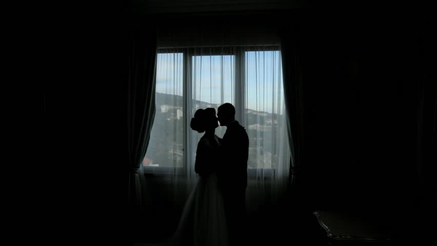 Silhouettes of the groom and bride kissing next to the window | Shutterstock HD Video #19530328