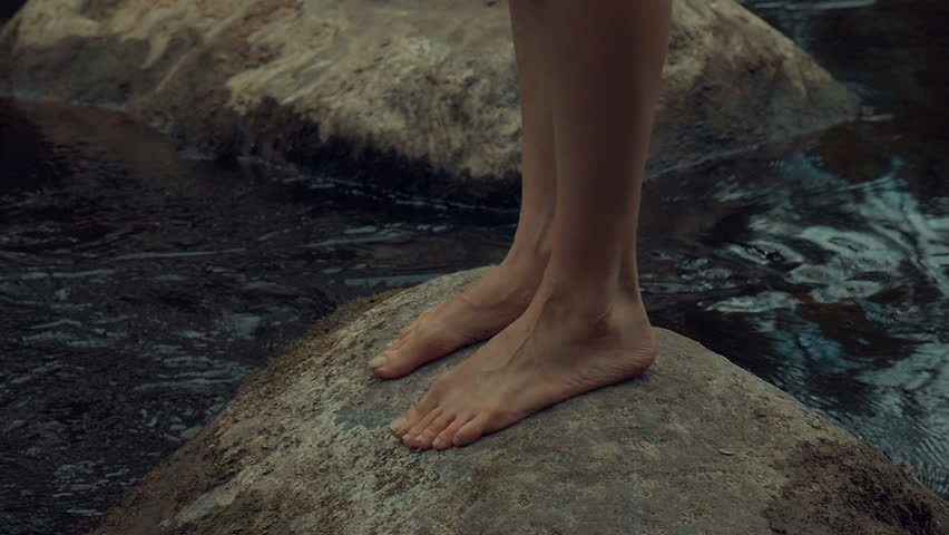 girl walks barefoot in the woods in a cloak #19550122