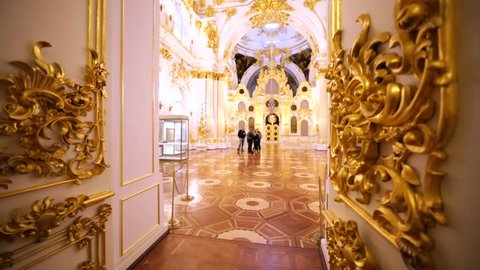 SAINT PETERSBURG, RUSSIA - FEBRUARY 12, 2016: Interior of amazingly decorated show room in Hermitage, one of the largest and oldest museums in the world, founded in 1764 by Catherine the Great.