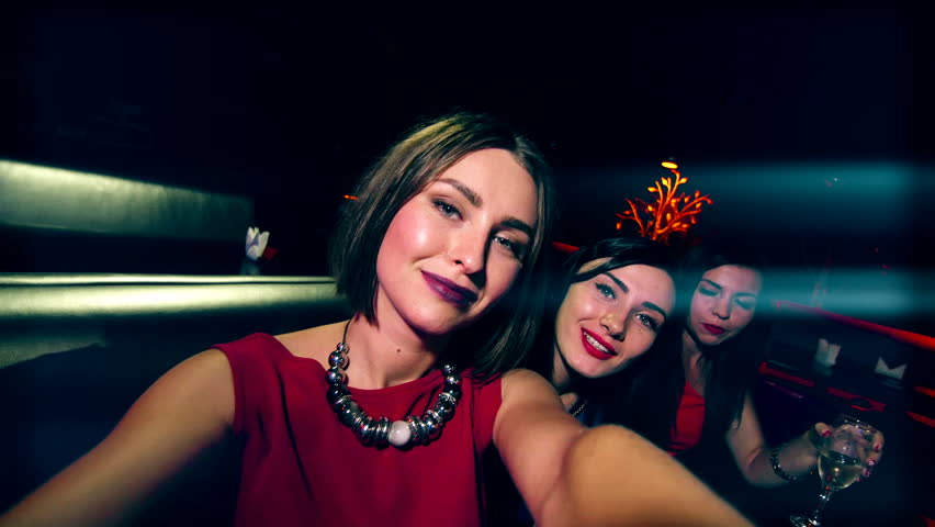 beautiful girl at the party make selfie - celebrating birthday