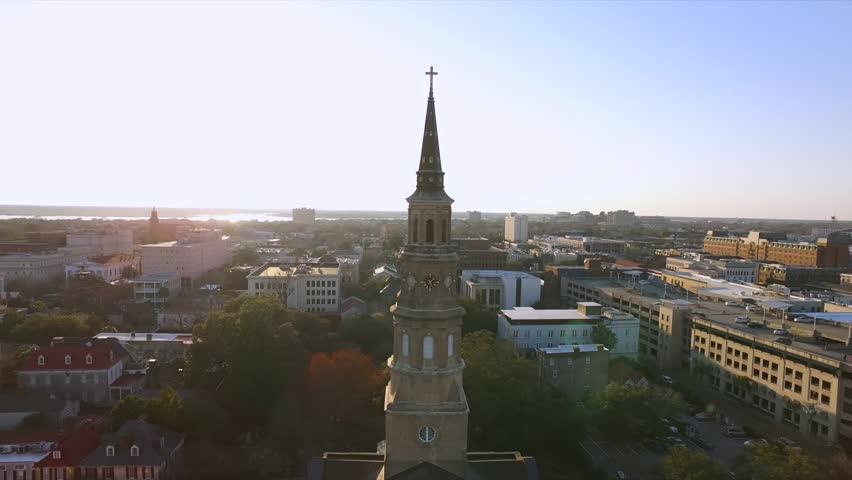 Saint Philip's Episcopal Church Charleston South Carolina Aerial Drone