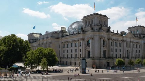 Real time establishing pan (left to right) shot of the Reichstag and Goverment Buildings at the Spree River in Berlin, Germany. People are walking along the embankment.