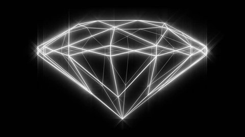 """Set of 8 Diamond wireframe loops, rotating, from 4 angles: top, side, high and low angles. Versions with and without a sparkle/glow effect. White on black. """"Round-brilliant-cut"""" diamond."""