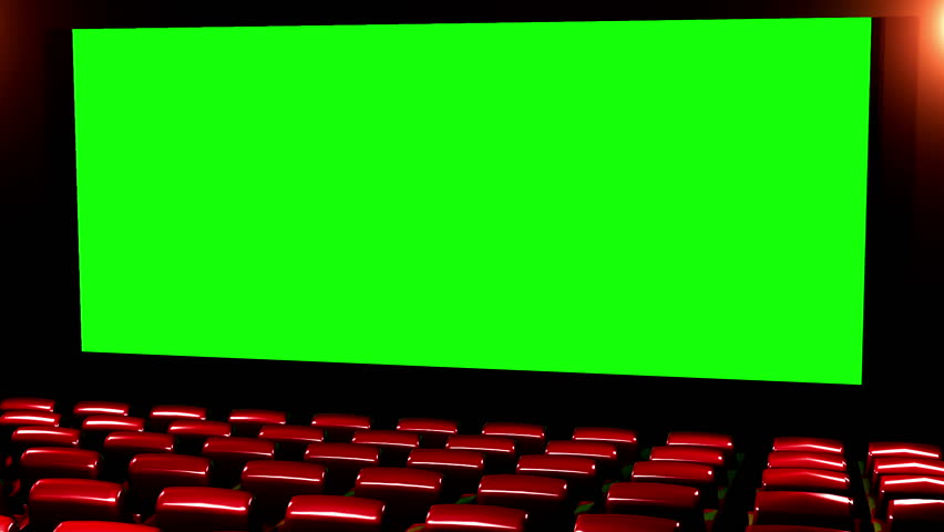 Cinema 3D render seamless loop - Version 02 Canvas is 2.39 cinema aspect ratio - green screen. In this version seats getting light effects from the canvas.With no reflection see Version 01 and 03 | Shutterstock HD Video #1968538