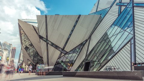 Toronto, Canada - CIRCA: September 2016: Time-lapse 4k of exterior of Royal Ontario Museum ROM sidewalk entrance in Toronto tourism people