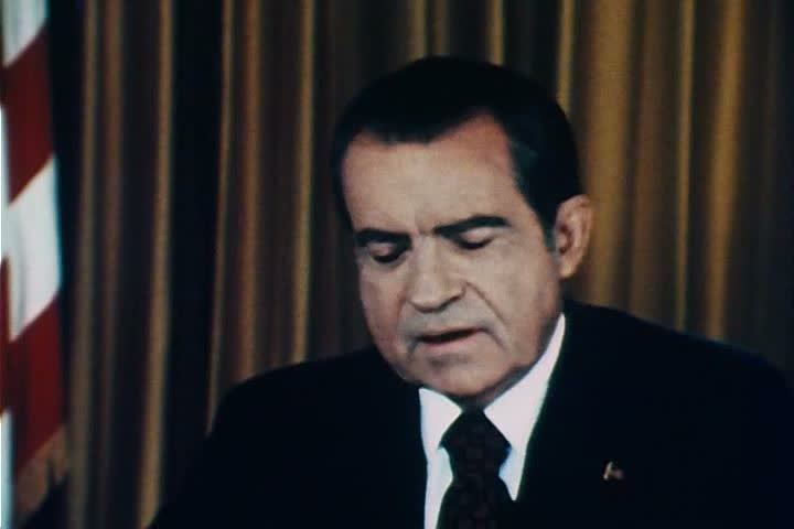 President Richard Nixon claims that he has no role in the Watergate scandal in the 1970s. (1970s)