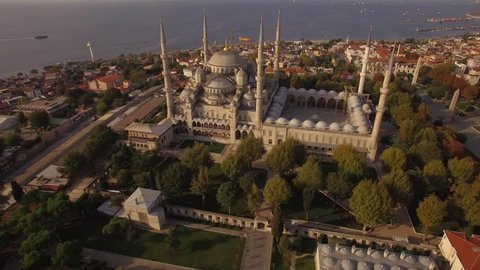 Aerial footage of Blue Mosque  in Istanbul city. Turkey in 4K