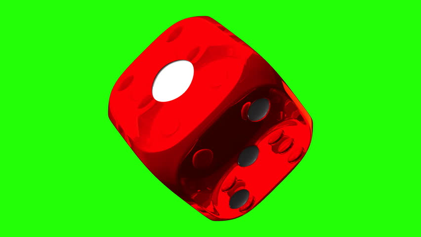 Red Dice On Green Chroma Key. Loop able 3DCG render Animation.