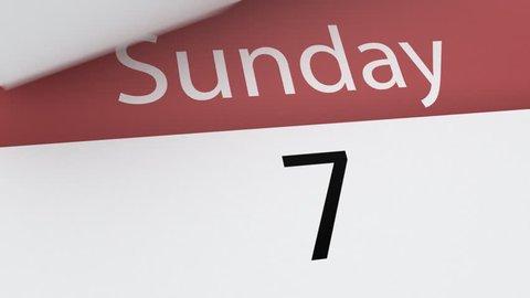Calendar (week), 3d animation