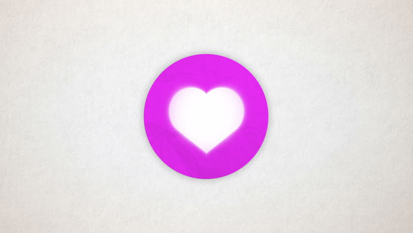 Heart animated. Shape heart in the colored purple circle on the paper textured background. Valentine card, beating animated heart. Intro background for wedding, valentines day themes.
