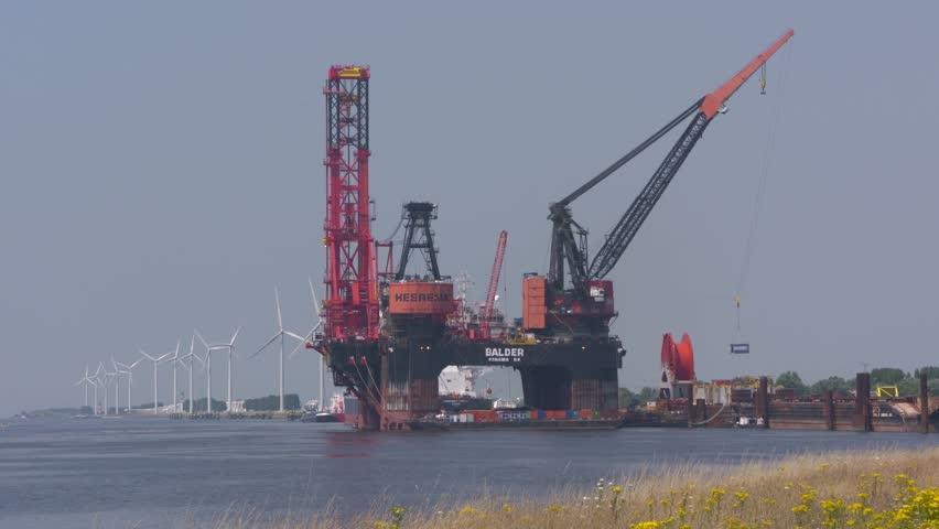 SEAPORT ROTTERDAM -  JULY 2016: Balder Deepwater Construction Vessel (DCV) a  semi-submersible crane vessel (SSCV)  moored at Calandkanaal