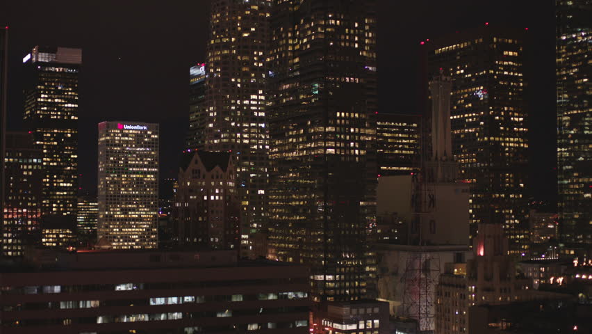 Night static lock window plate rooftop POV least 20 30 stories high looking right downtown Los Angeles   Shutterstock HD Video #19791022
