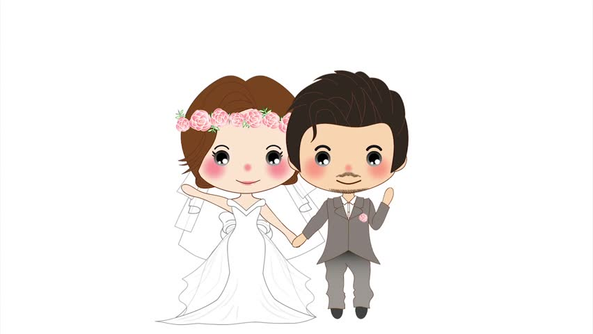 Cute Just Married Couple 2d Animation Loop Stock Footage