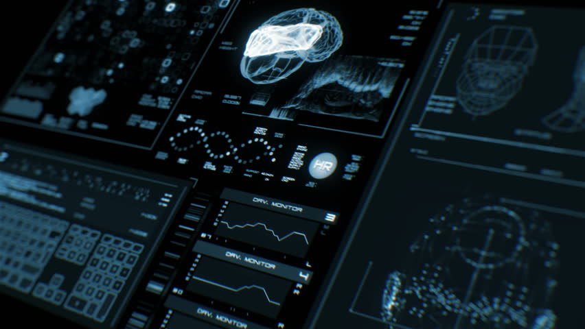 Ultra high resolution footage of futuristic interface in prespective. Digital background. Blinking and switching indicators and statuses showing brain scanning process or human health.UHD,HD,1080p. | Shutterstock HD Video #19817638