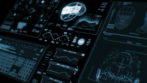 Ultra high resolution footage of futuristic interface in prespective. Digital background. Blinking and switching indicators and statuses showing brain scanning process or human health.UHD,HD,1080p.