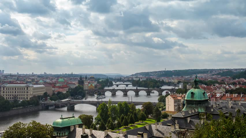 scenic 4k time lapse video of bridges on the vltava river and of the historical center - Multi Castle 2016